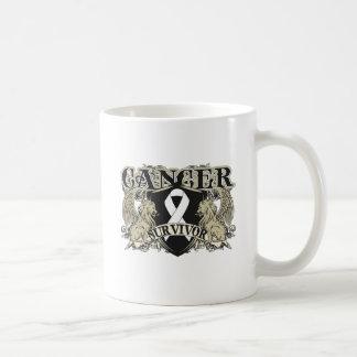 Lung Cancer Survivor Mens Heraldry Classic White Coffee Mug