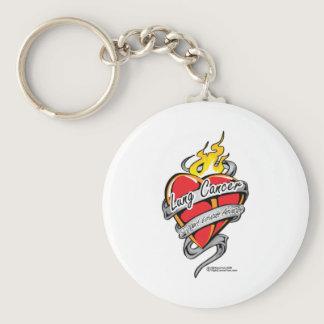 Lung Cancer Tattoo Heart Keychain