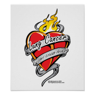 Lung Cancer Tattoo Heart Poster