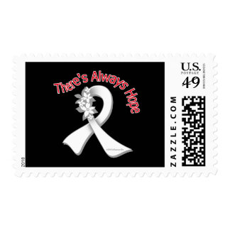 Lung Cancer There's Always Hope Floral Postage Stamp