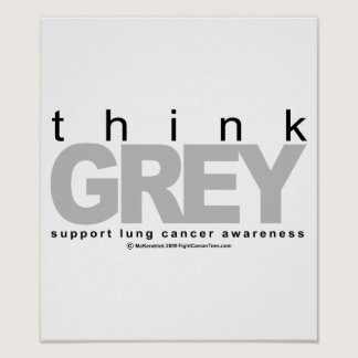 Lung Cancer Think Grey Poster