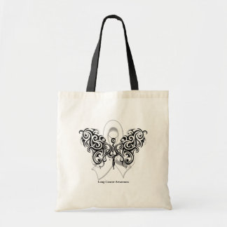 Lung Cancer Tribal Butterfly Ribbon Bags