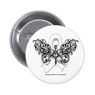 Lung Cancer Tribal Butterfly Ribbon Buttons