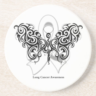 Lung Cancer Tribal Butterfly Ribbon Beverage Coaster