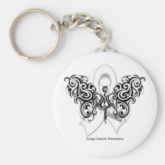 Lung Cancer Tribal Butterfly Ribbon Key Chains