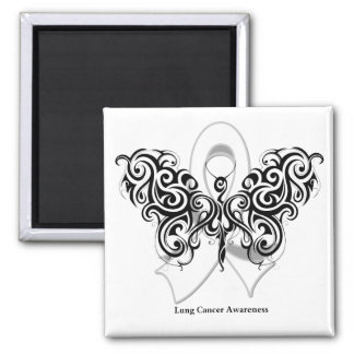 Lung Cancer Tribal Butterfly Ribbon Refrigerator Magnets
