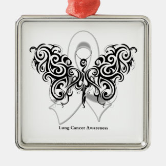 Lung Cancer Tribal Butterfly Ribbon Christmas Ornament