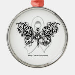 Lung Cancer Tribal Butterfly Ribbon Round Metal Christmas Ornament