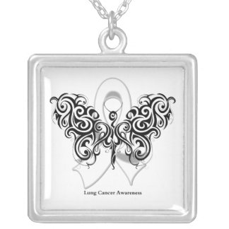 Lung Cancer Tribal Butterfly Ribbon Square Pendant Necklace
