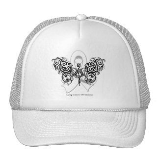 Lung Cancer Tribal Butterfly Ribbon Trucker Hat