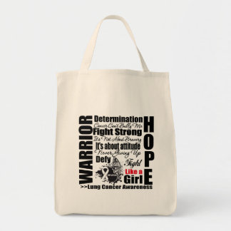 Lung Cancer Warrior Fight Slogans Canvas Bags