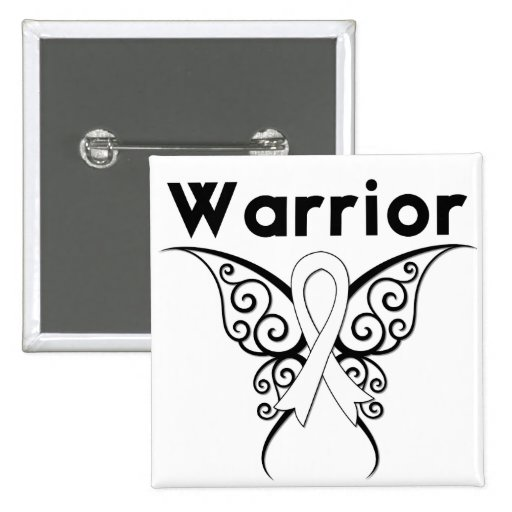 Lung Cancer Warrior Tribal Butterfly 2 Inch Square Button