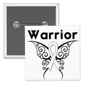Lung Cancer Warrior Tribal Butterfly Pinback Buttons