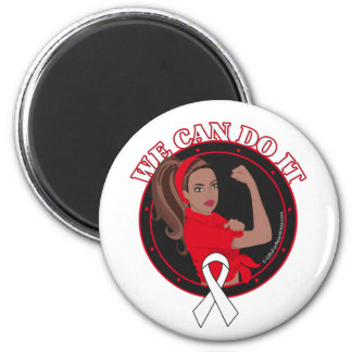 Lung Cancer We Can Do It (Black Girl) Magnets