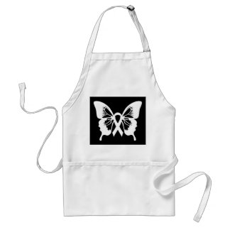 Lung Cancer White Butterfly apron
