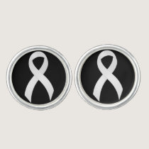 Lung Cancer White Ribbon Cufflinks