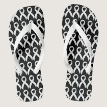 Lung Cancer White Ribbon Flip Flops
