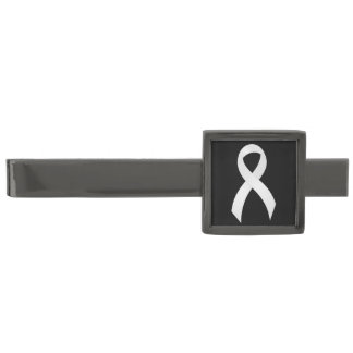 Lung Cancer - White Ribbon Gunmetal Finish Tie Clip
