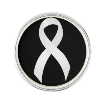 Lung Cancer White Ribbon Lapel Pin