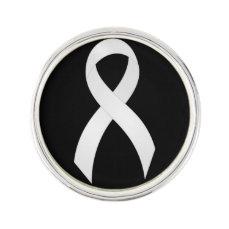 Lung Cancer White Ribbon Lapel Pin