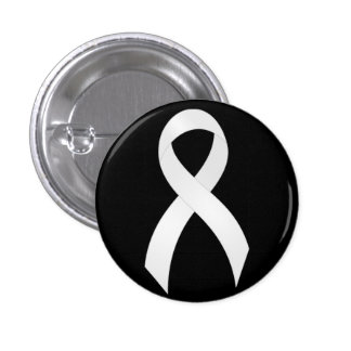 Lung Cancer White Ribbon Pinback Button