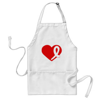 Lung Cancer White Ribbon Red Heart apron