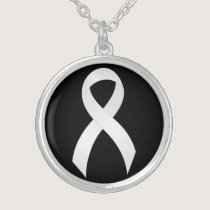 Lung Cancer White Ribbon Silver Plated Necklace
