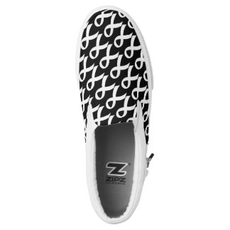 Lung Cancer - White Ribbon Slip-On Sneakers