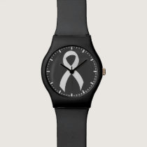 Lung Cancer - White Ribbon Wristwatches