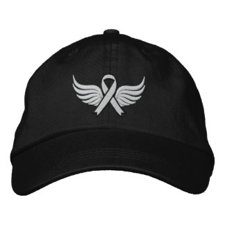 Lung Cancer Winged Ribbon Cap