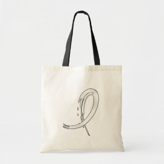 Lung Cancer's Pearl Ribbon A4 Tote Bags