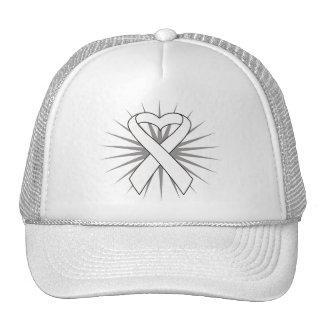 Lung Disease Awareness Heart Ribbon png Trucker Hat