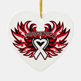 Lung Disease Awareness Heart Wings Christmas Tree Ornament