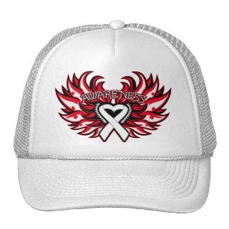 Lung Disease Awareness Heart Wings png Trucker Hats