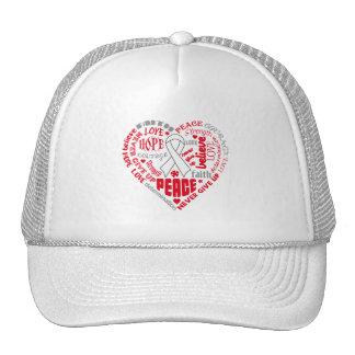 Lung Disease Awareness Heart Words Trucker Hats