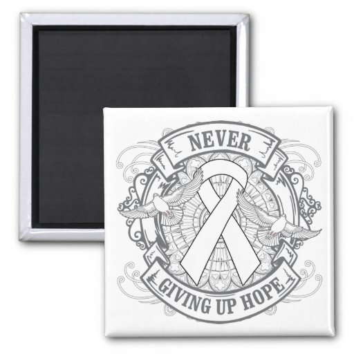 Lung Disease Never Giving Up Hope 2 Inch Square Magnet
