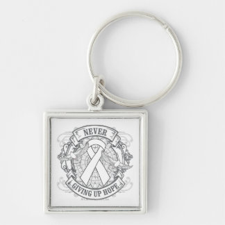 Lung Disease Never Giving Up Hope Silver-Colored Square Keychain