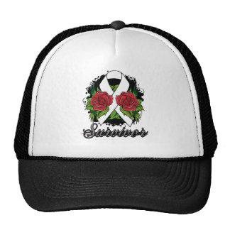 Lung Disease Survivor Rose Grunge Tattoo Trucker Hats