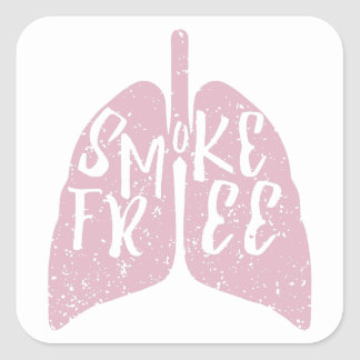 Lung Health Smoke Free Square Sticker