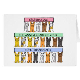 Lung transplant anniversary congratulations. card