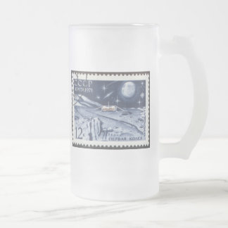 Lunokhod 1 Russian Moon Probe 1970 16 Oz Frosted Glass Beer Mug