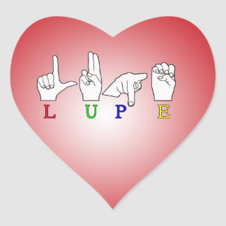 LUPE  FINGERSPELLED ASL NAME SIGN FEMALE HEART STICKER