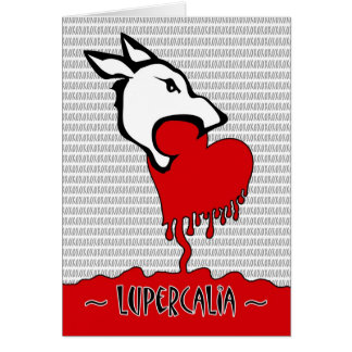 Lupercalia Day, Wolf Eating a Red Heart, xoxo Greeting Card
