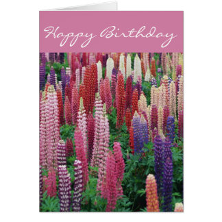 Lupin Flowers D2 Happy Birthday Card