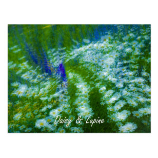 Lupine and Daisy Floral Swirl Postcard