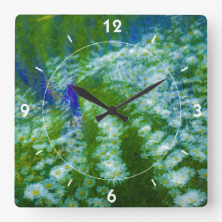 Lupine and Daisy Floral Swirl Square Wall Clock