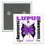 Lupus Awareness Butterfly 2 Inch Square Button