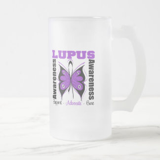 Lupus Awareness Butterfly Frosted Glass Beer Mug