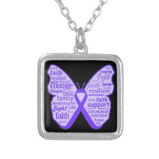 Lupus Awareness Butterfly Ribbon Square Pendant Necklace