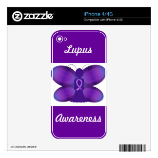 Lupus Awareness iphone 4 4S  purple  butterfly Skins For The iPhone 4S